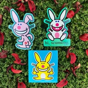 Accessories - 3 HAPPY BUNNY Stickers set lot